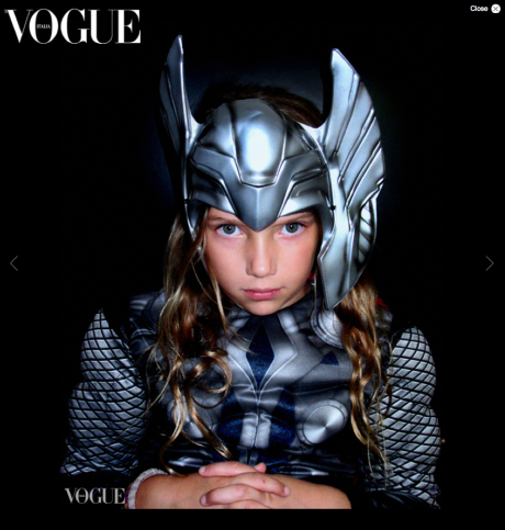 Riley as Thor in Vogue Italia online.